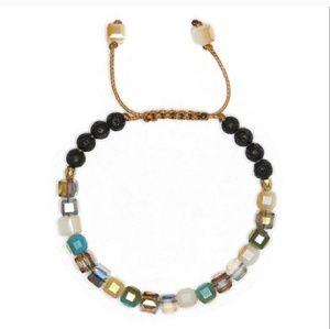 Glass lava pyrite adjustable diffuser bracelet